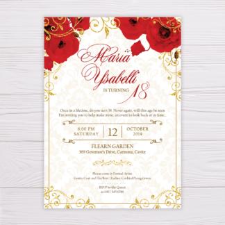 Red Flowers & Gold Glitter Ornaments Invitation