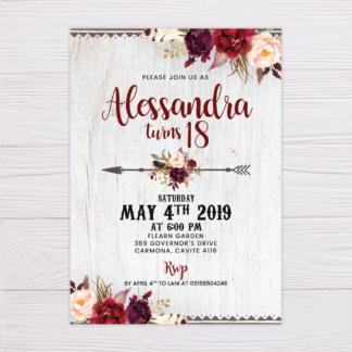 Rustic Maroon Floral Bohemian Invitation