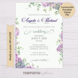 Lavender Flowers Wedding Invitation