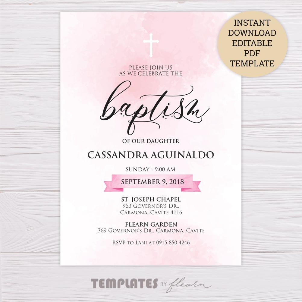 Pink Watercolor Baptism Invitation Template – Dgtally