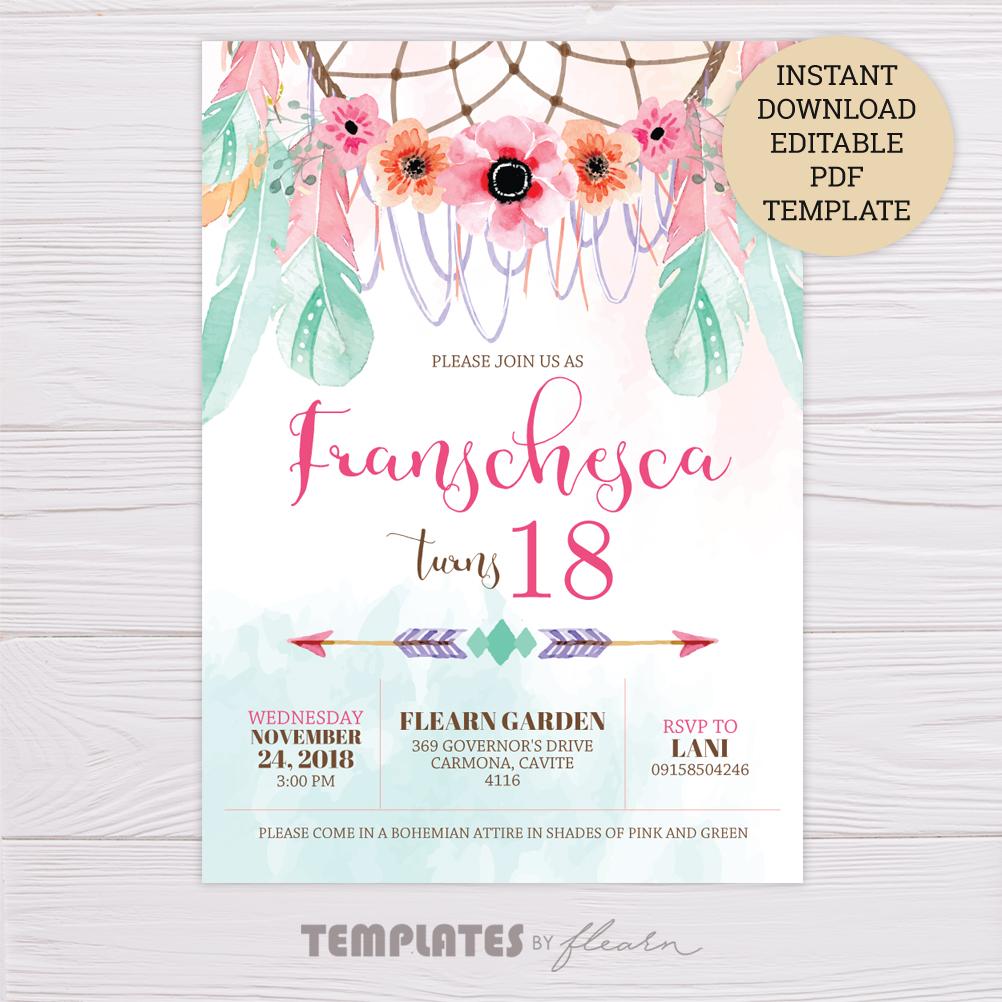 pink  green bohemian invitation template  dgtally