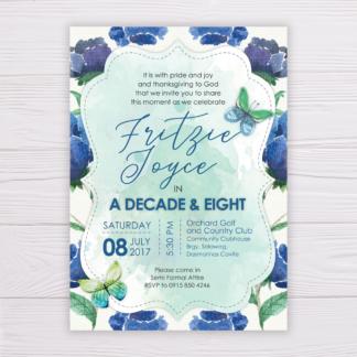 Blue Floral Birthday Invitation