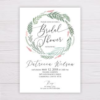 Bridal Shower Invitation - Greenery Leaves Wreath