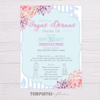 Pastel Blue & Purple Watercolor Flowers Invitation