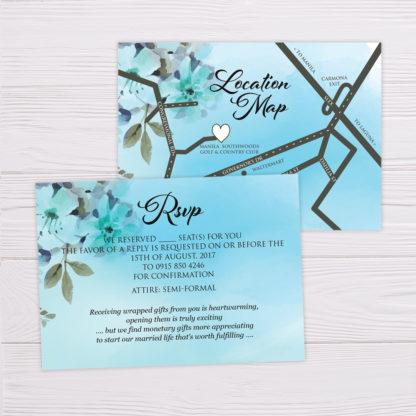 Blue Watercolor Flowers Wedding Invitation RSVP & Map