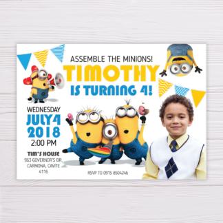 Minions Invitation with Picture