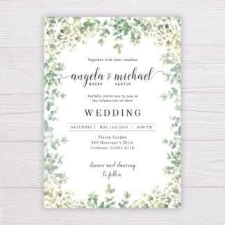 Wedding Invitation - Greenery, Leaves, White Flowers