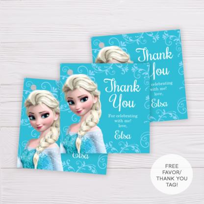 Frozen Elsa Thank You Card Template