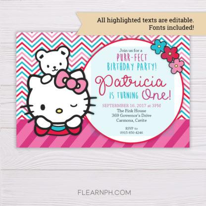 Hello Kitty Invitation MS Word Template
