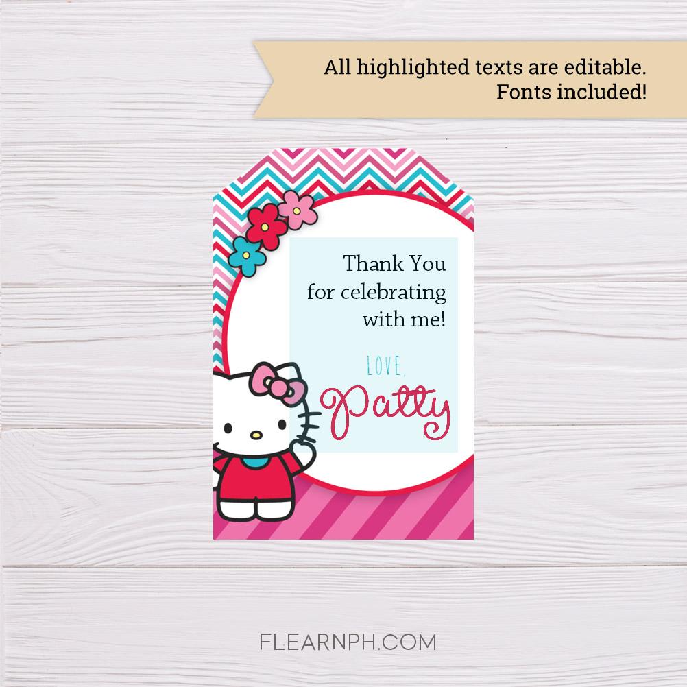 Hello Kitty Thank You Card Template - Dgtally