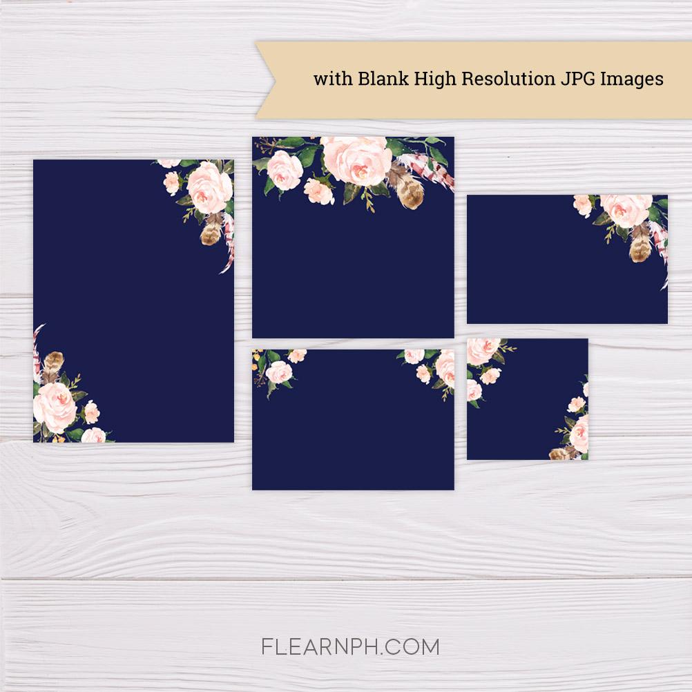 Navy Blue Blush Flowers Wedding Invitation Suite Template Dgtally