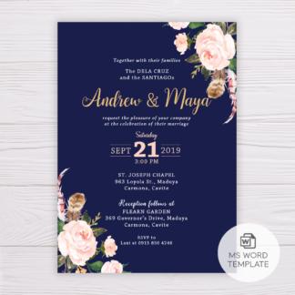 Navy Blue Wedding Invitation Template - Blush Flowers/Floral