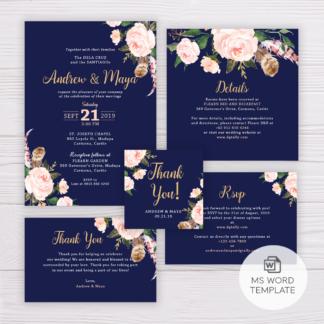 Navy Blue Wedding Invitation Set Template - Blush Flowers/Floral
