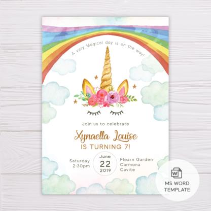 Rainbow Unicorn Invitation Template