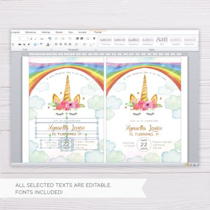 Rainbow Unicorn Invitation Template in MS Word