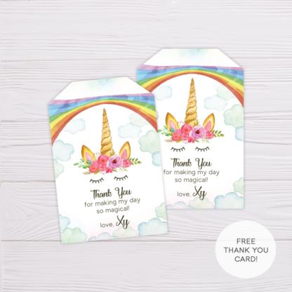 Rainbow Unicorn Thank You Card Template