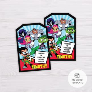 Teen Titans Go! Thank You Card Template