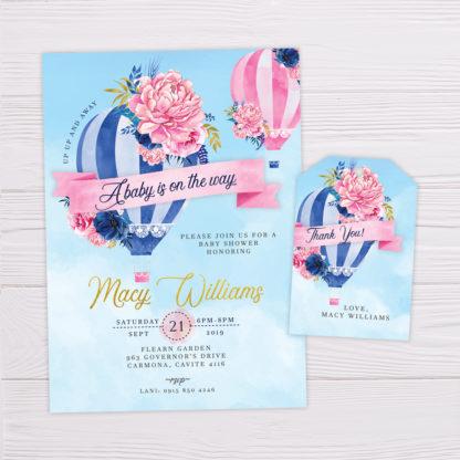 Blue Hot Air Balloon Invitation & Thank You Card