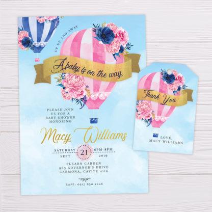 Pink Hot Air Balloon Invitation & Thank You Card