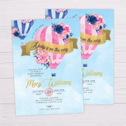 Pink Hot Air Balloon Invitation
