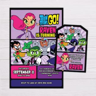 Teen TItans Go! Invitation for Girls