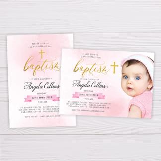 Gold & Pink Watercolor Baptism Invitation