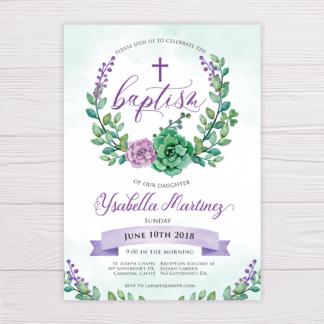 Purple & Green Succulent Baptism Invitation