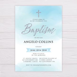 Baptism Invitation - Blue Watercolor & Silver
