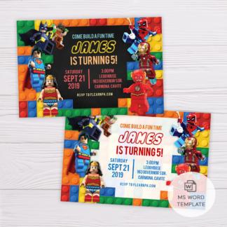 Superheroes Lego Invitation Template
