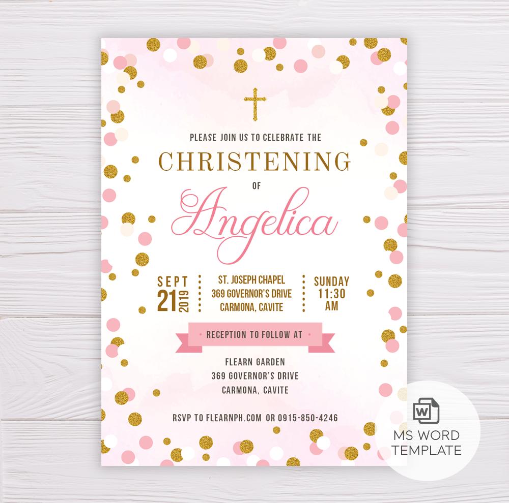Pink & Gold Dots Christening/Baptism Invitation Template – Dgtally