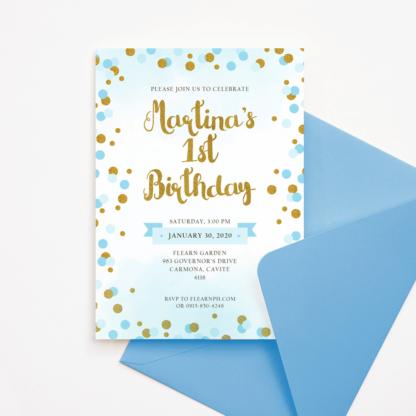 Blue and Gold Circles Birthday Invitation