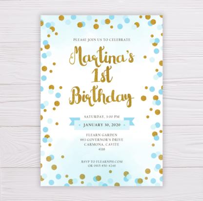 Blue & Gold Dots Birthday Invitation
