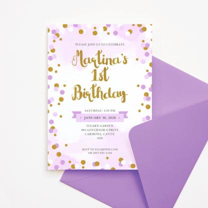 Purple and Gold Circles Birthday Invitation