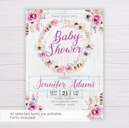 Purple Bohemian Baby Shower Invitation Template
