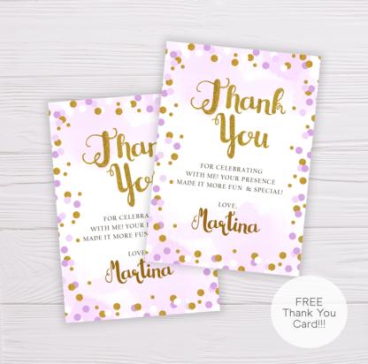 Purple & Gold Circles Thank You Card