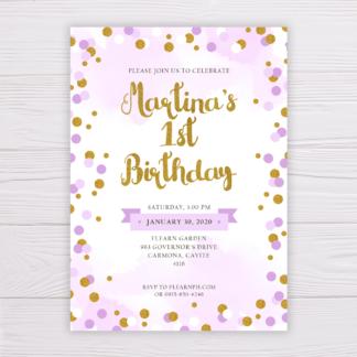 Purple & Gold Circles Birthday Invitation