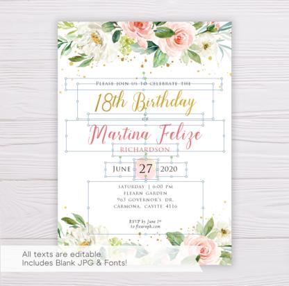 Watercolor Blush Flowers & Gold Birthday Invitation Template