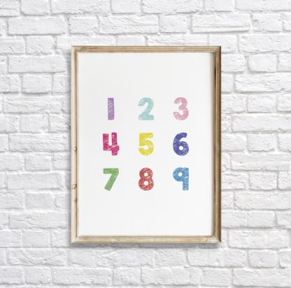 Colorful Numbers Nursery Wall Decor Printable