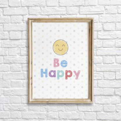 Be Happy Colorful Nursery Wall Decor Printable