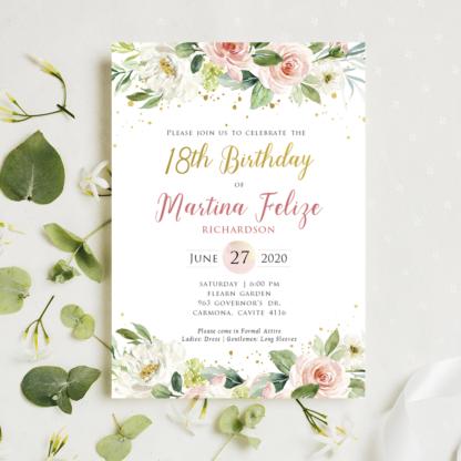 Birthday Invitation Template (Blush Floral & Gold)