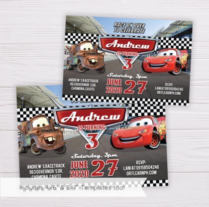Cars Lightning McQueen Birthday Invitation Template