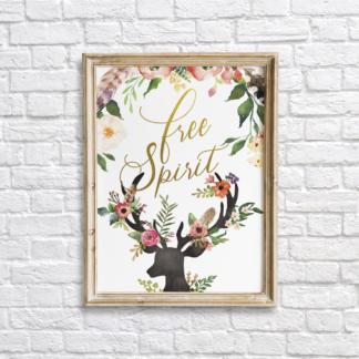 Deer Bohemian Free Spirit Wall Art Printable - Gold