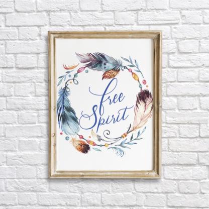 Feathers Wreath Free Spirit Bohemian Wall Art Printable - Blue