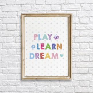Play, Learn, Dream Colorful Nursery Wall Decor Printable