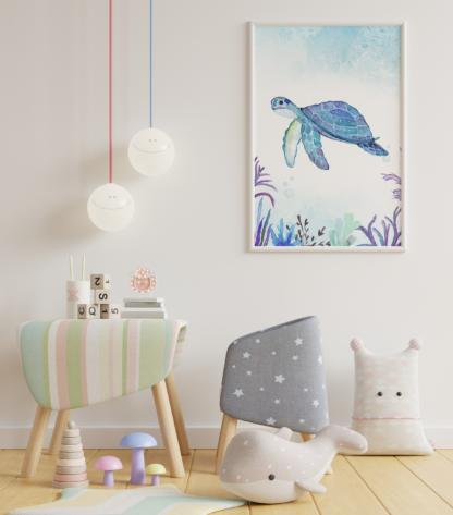 Sea Turtle Watercolor Graphic Wall Art Room Decor Printable