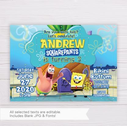 SpongeBob SquarePants Birthday Invitation Template