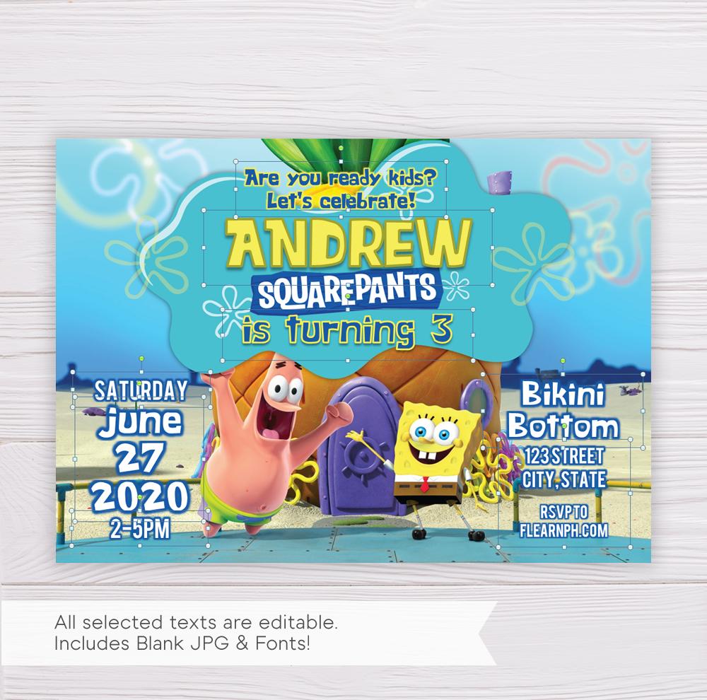 SpongeBob SquarePants Birthday Invitation Template - Dgtally