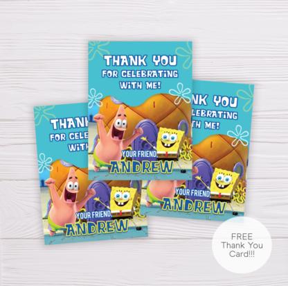 SpongeBob SquarePants Birthday Thank You Card Template