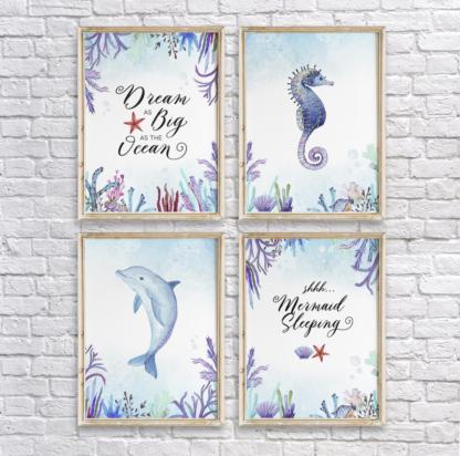 Dream as Big as the Ocean, Shhh. Mermaid Sleeping - Watercolor Under The Sea Seahorse & Dolphin Statement Wall Art/Decor Printable Set of 4