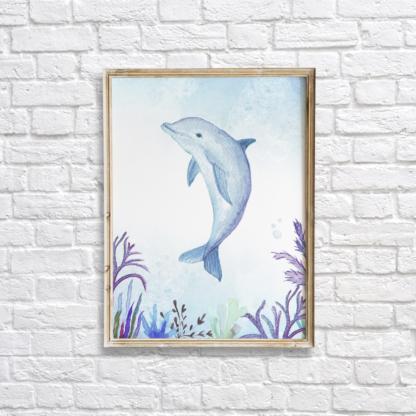 Watercolor Under The Sea Dolphin Wall Art/Decor Printable